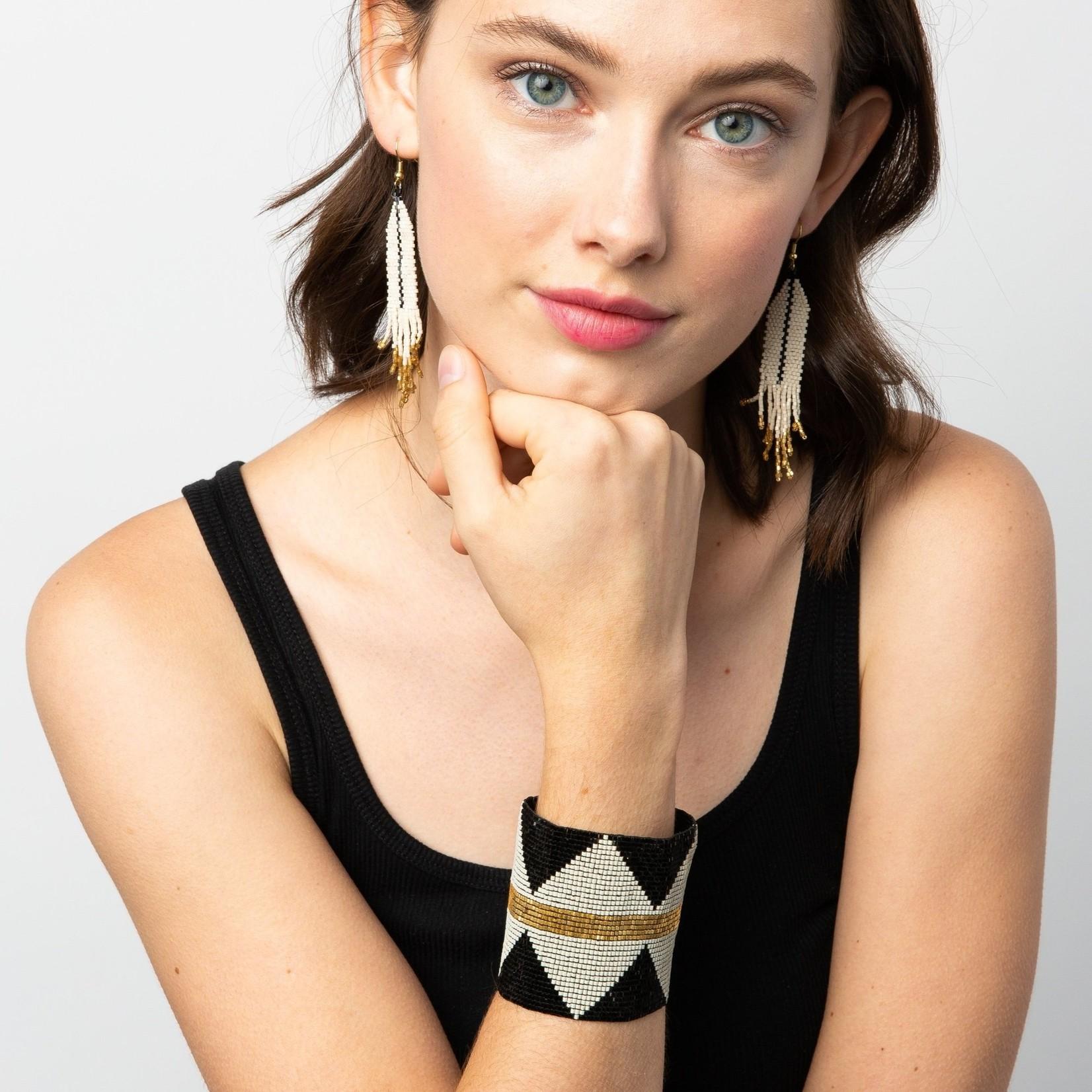 Ink + Alloy Ivory & Black Luxe Single Stripe Fringe Earrings