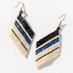 Ink + Alloy Ivory Black Lapis Diamond Luxe Stripe Earrings