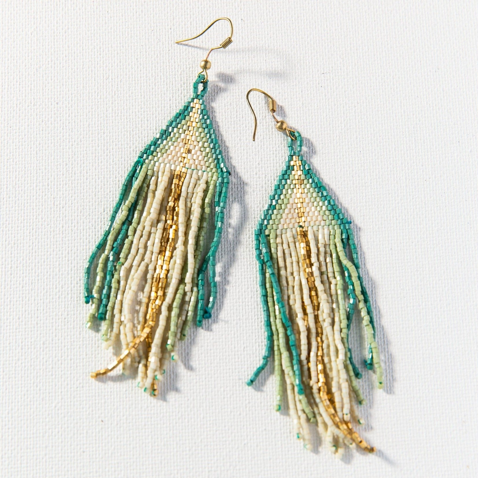 Ink + Alloy Ivory Teal Mint Ombre Luxe Fringe Earrings