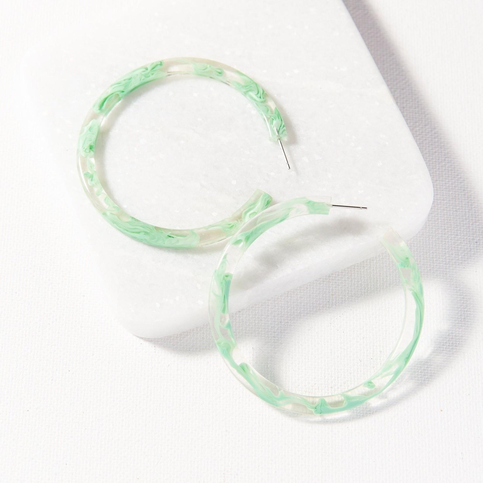 Ink + Alloy Marbled Acetate Hoop Earrings