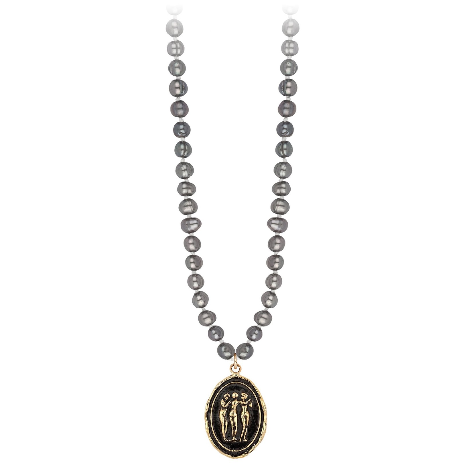 Pyrrha Three Graces 14K Gold Talisman On Knotted Freshwater Pearl Necklace