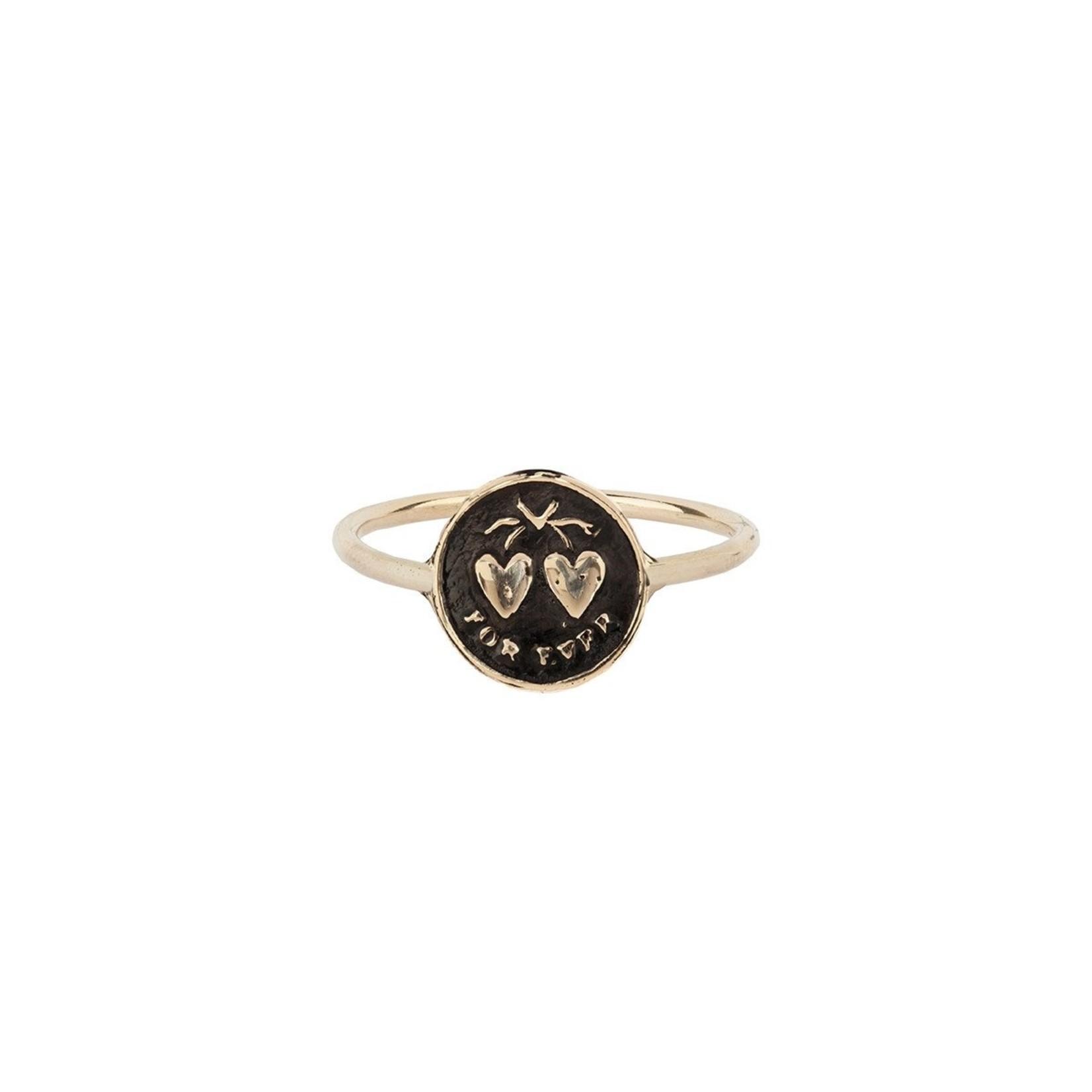 Pyrrha Hearts 14K Gold Mini Talisman Ring