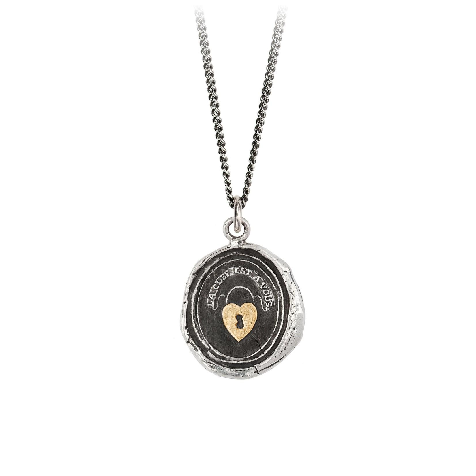 Pyrrha Heart Lock 14k Gold On Silver Talisman