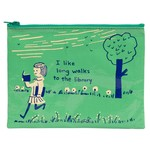 Blue Q I Like Long Walks To The Library Zipper Pouch