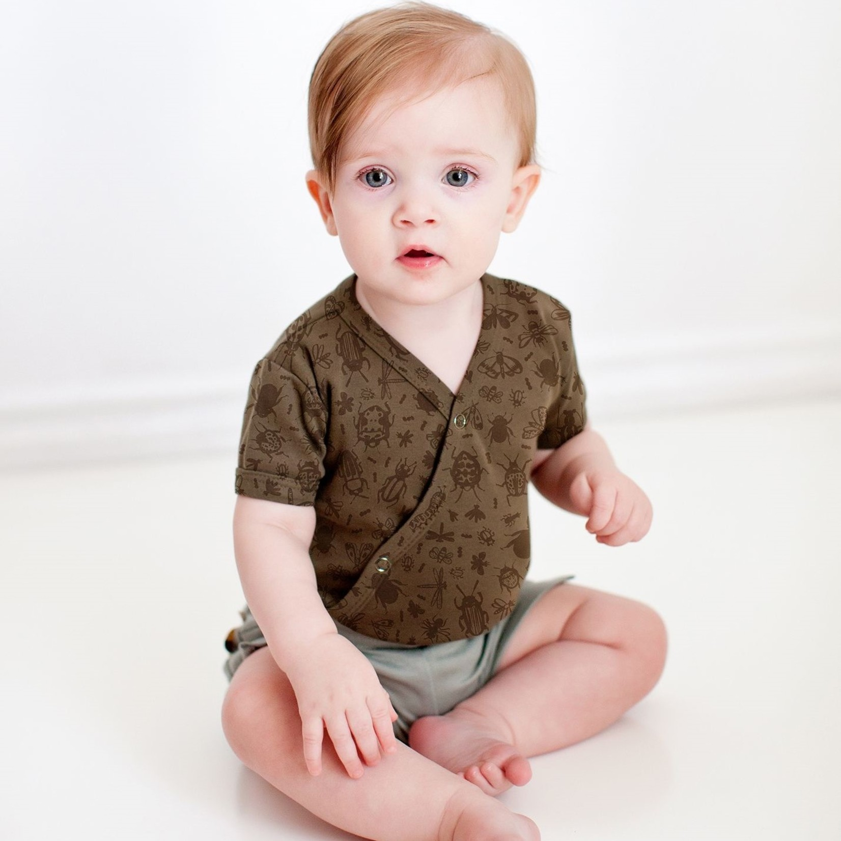 L'oved Baby Don't Bug Me Short-Sleeve Kimono Bodysuit