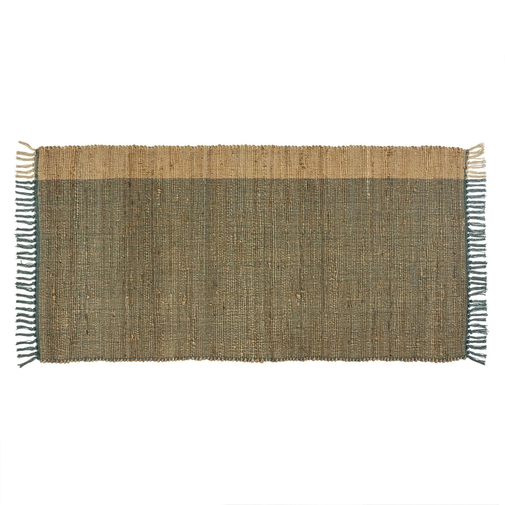 Indaba Side Stripe Jute Rug - Ocean