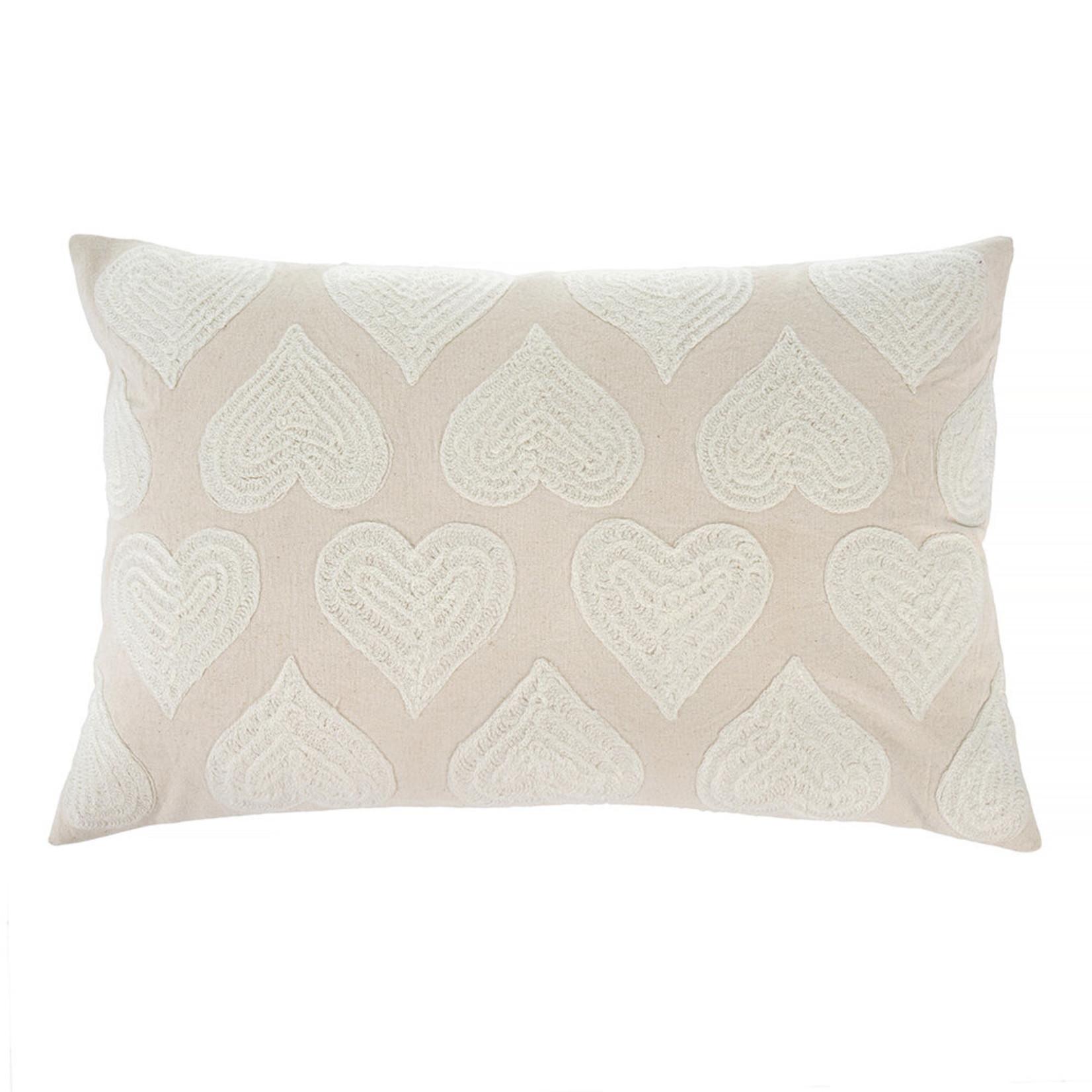 Indaba Heartbeat Pillow - White