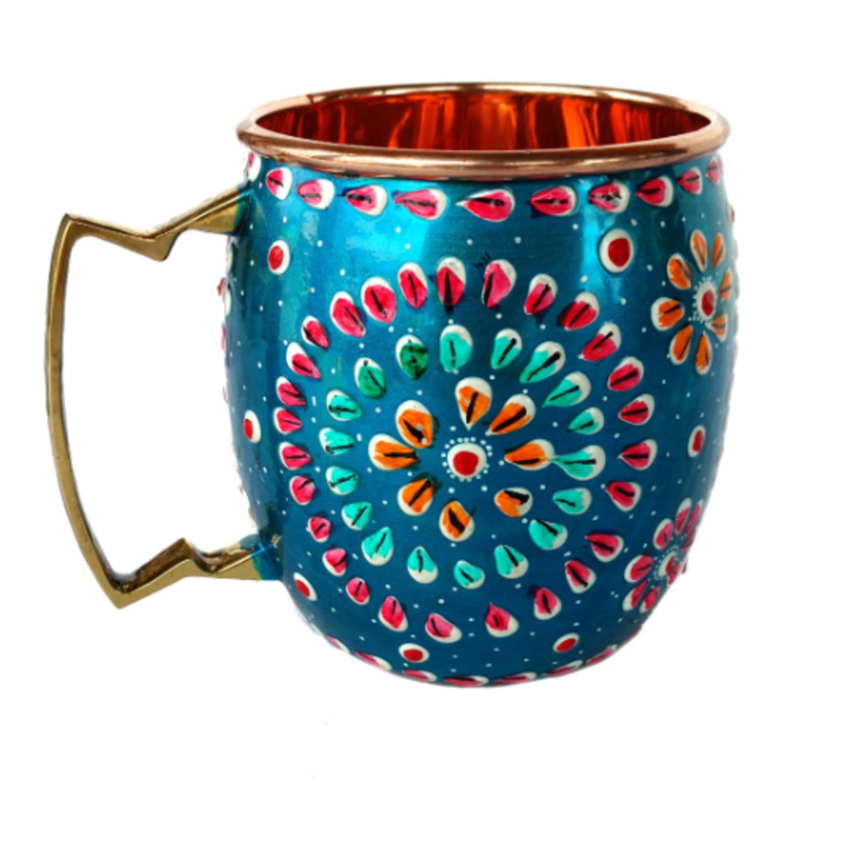 Blue Rickshaw Hand Painted Copper Mule Mug