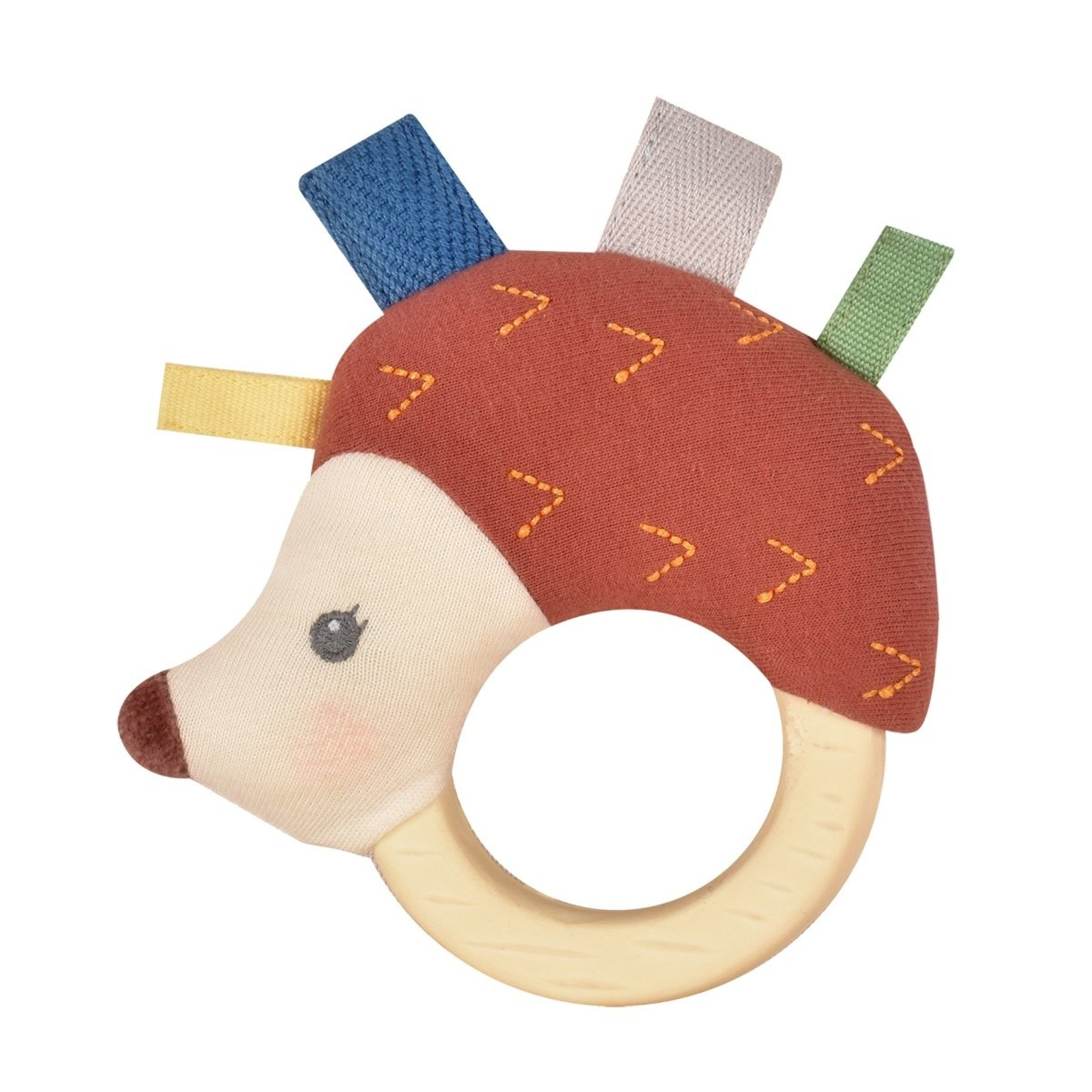 Tikiri Collection Ethen The Hedgehog Plush Rattle with Natural Rubber Head