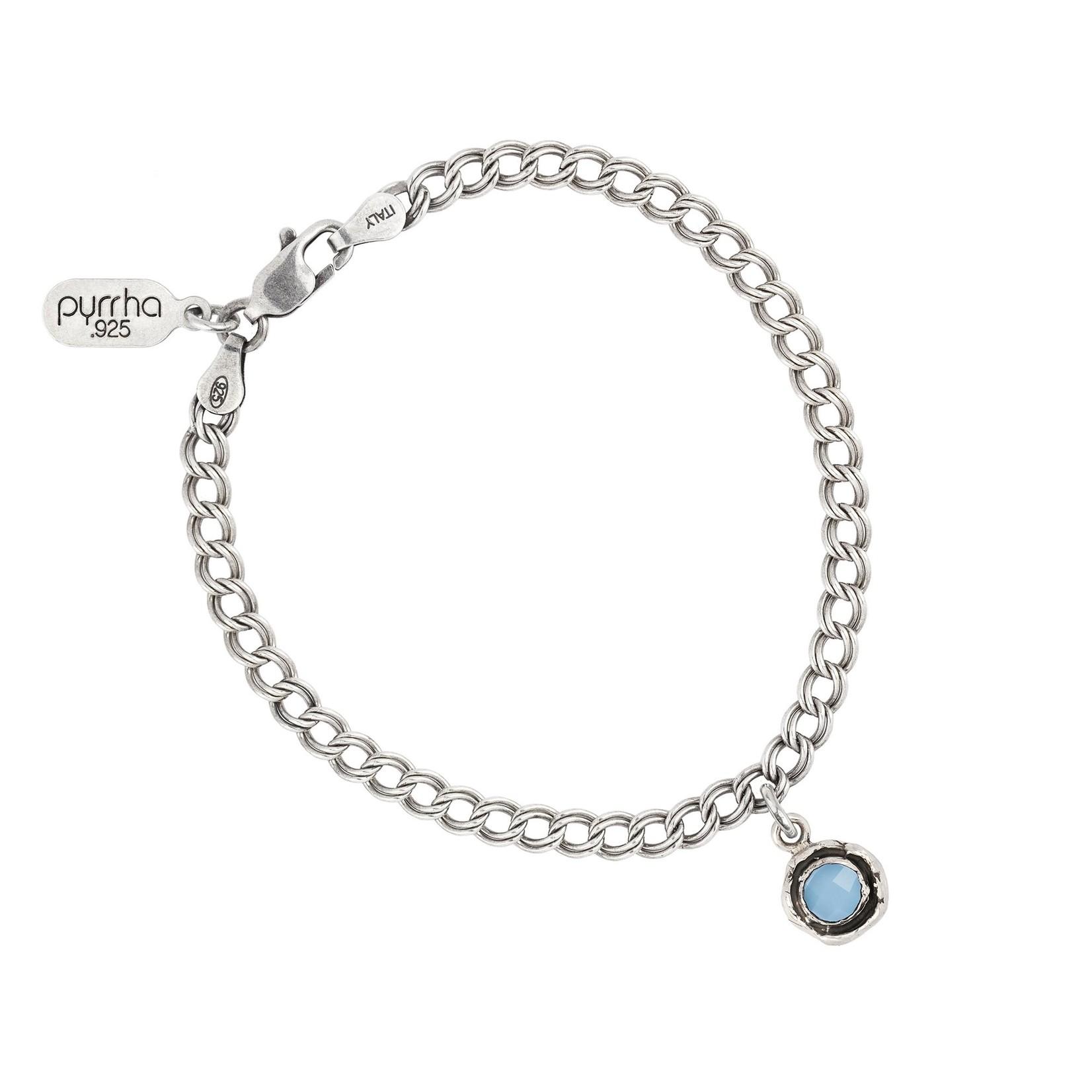 Pyrrha Chalcedony Small Faceted Stone Talisman Chain Bracelet