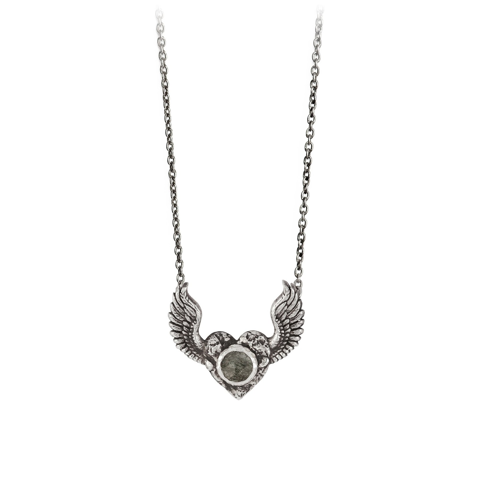 Pyrrha Heart With Wings Faceted Stone Talisman