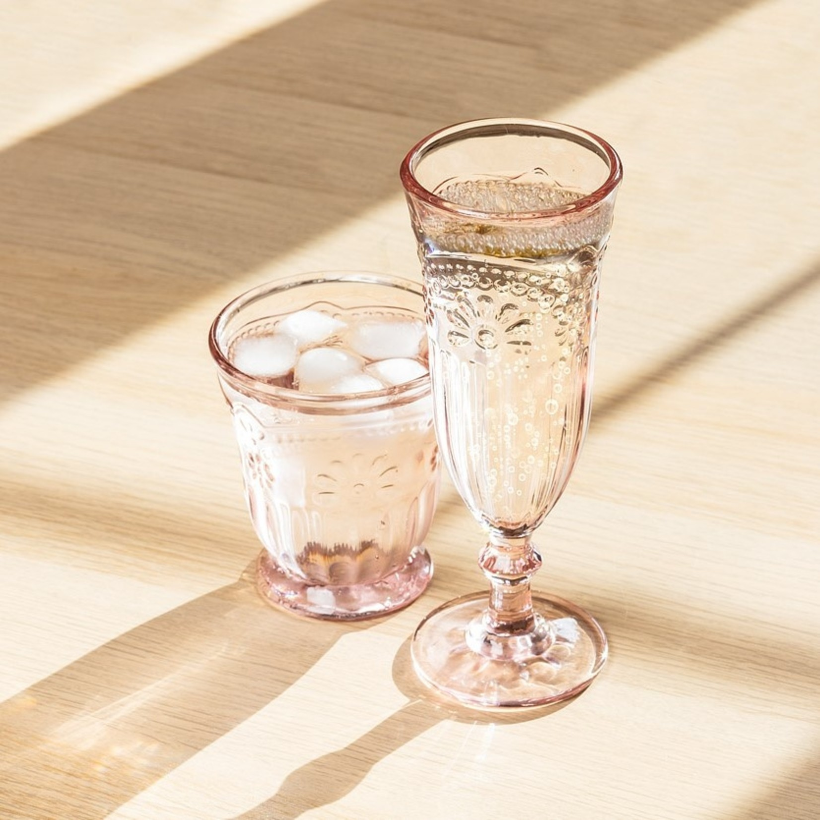 Abbott Pink Flower Glass Flute