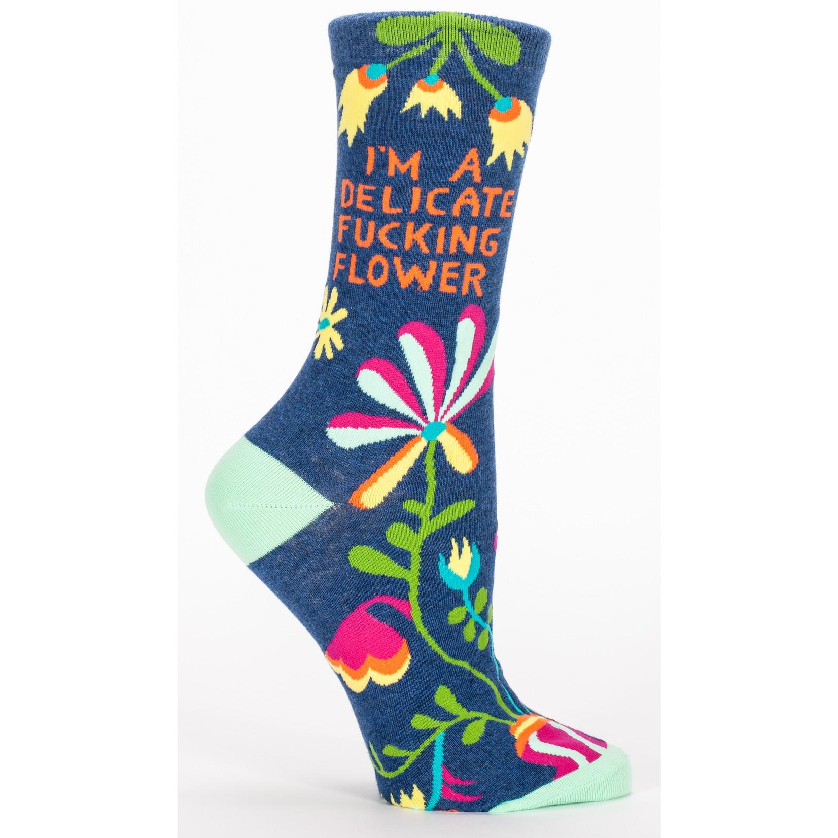 Blue Q Delicate Fucking Flower W - Crew Socks