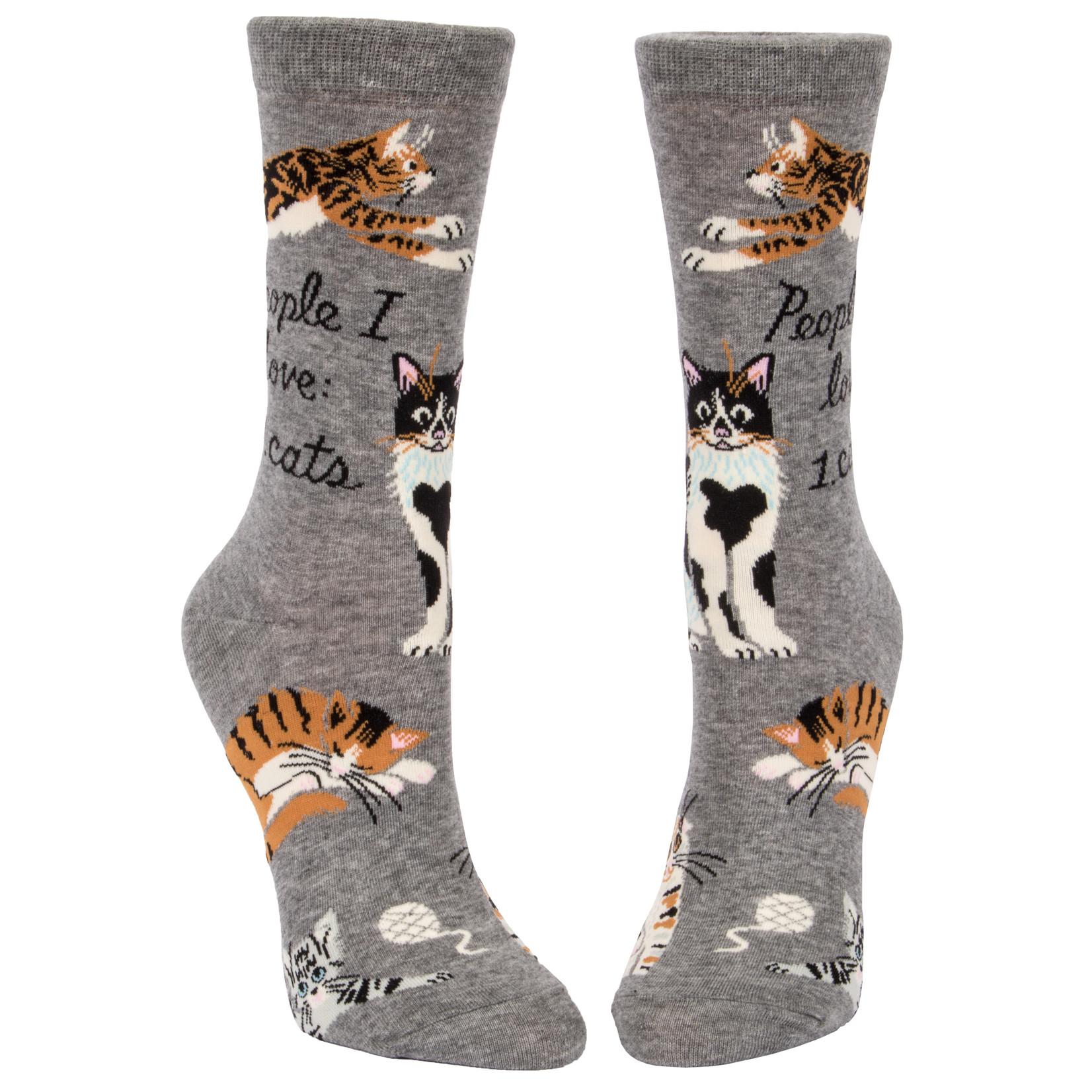 Blue Q People I Love : Cats W - Crew Socks