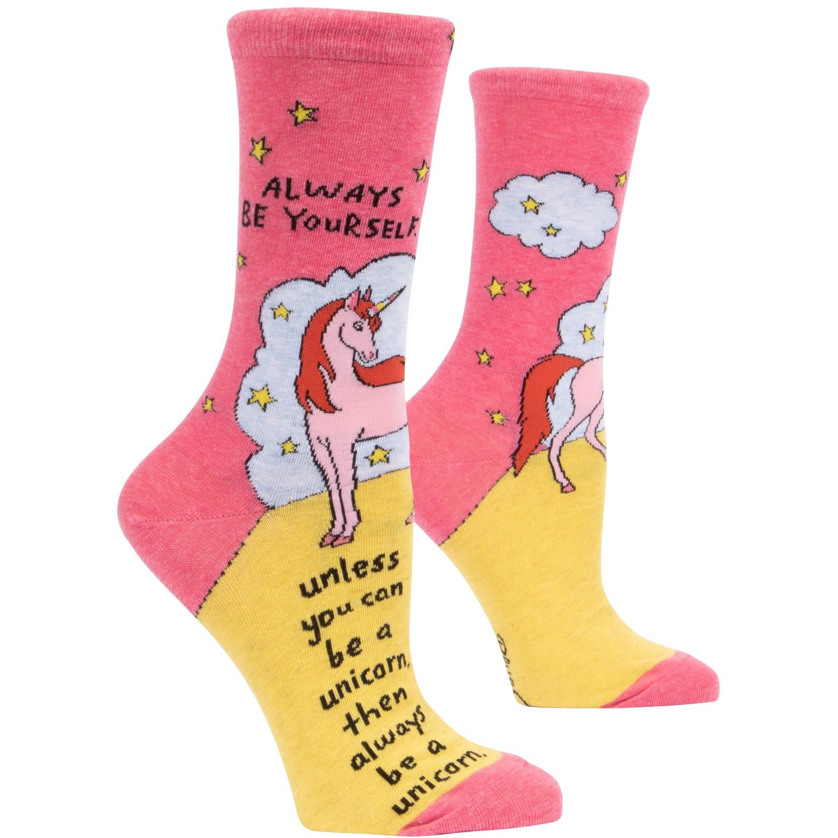 Blue Q Always Be A Unicorn W - Crew Socks