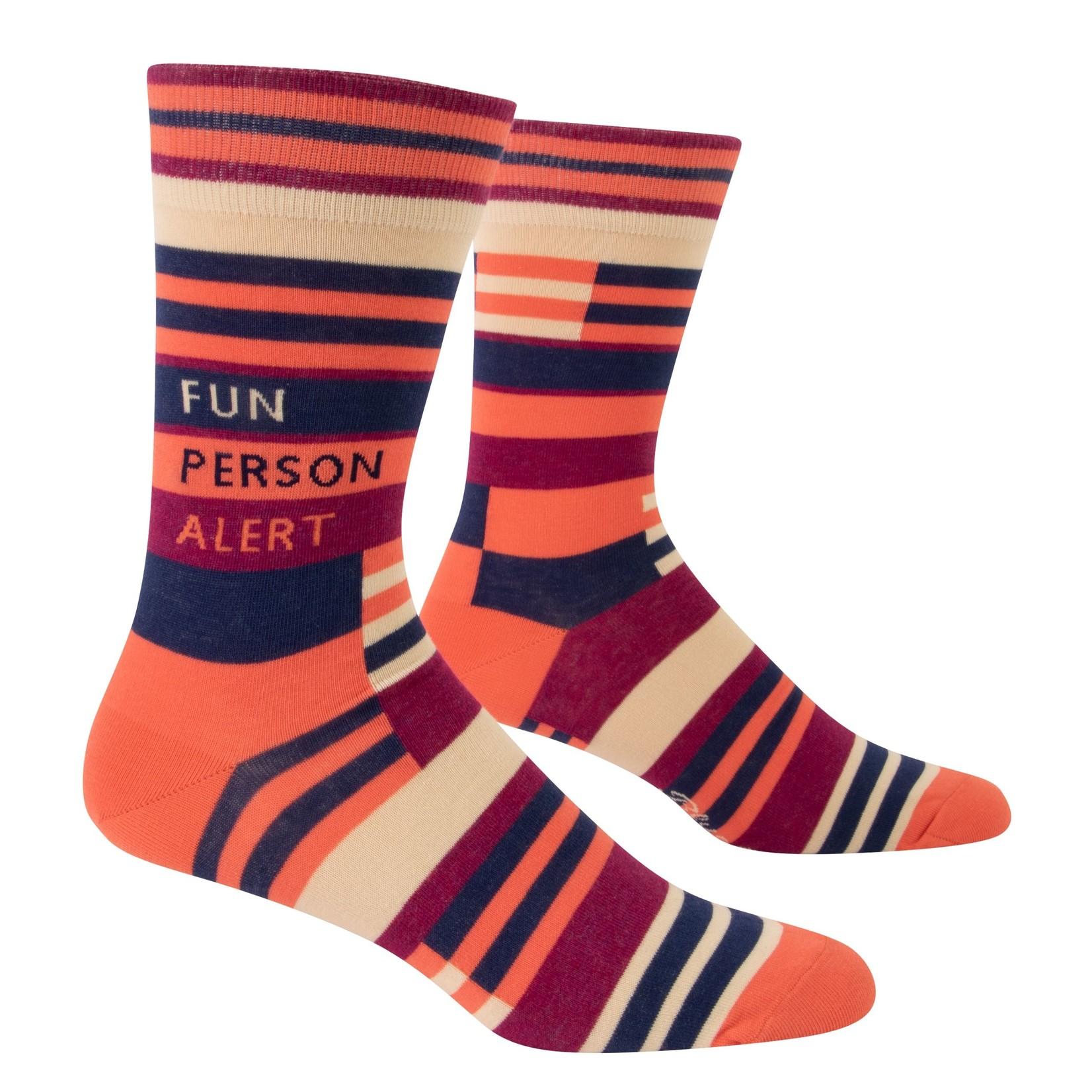 Blue Q Fun Person Alert M - Crew Socks