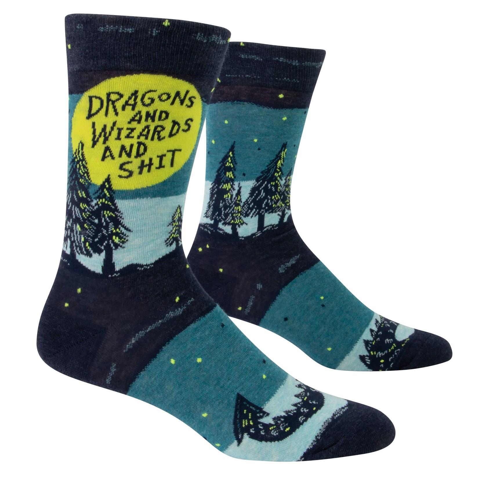 Blue Q Dragons & Wizards & Shit M - Crew Socks