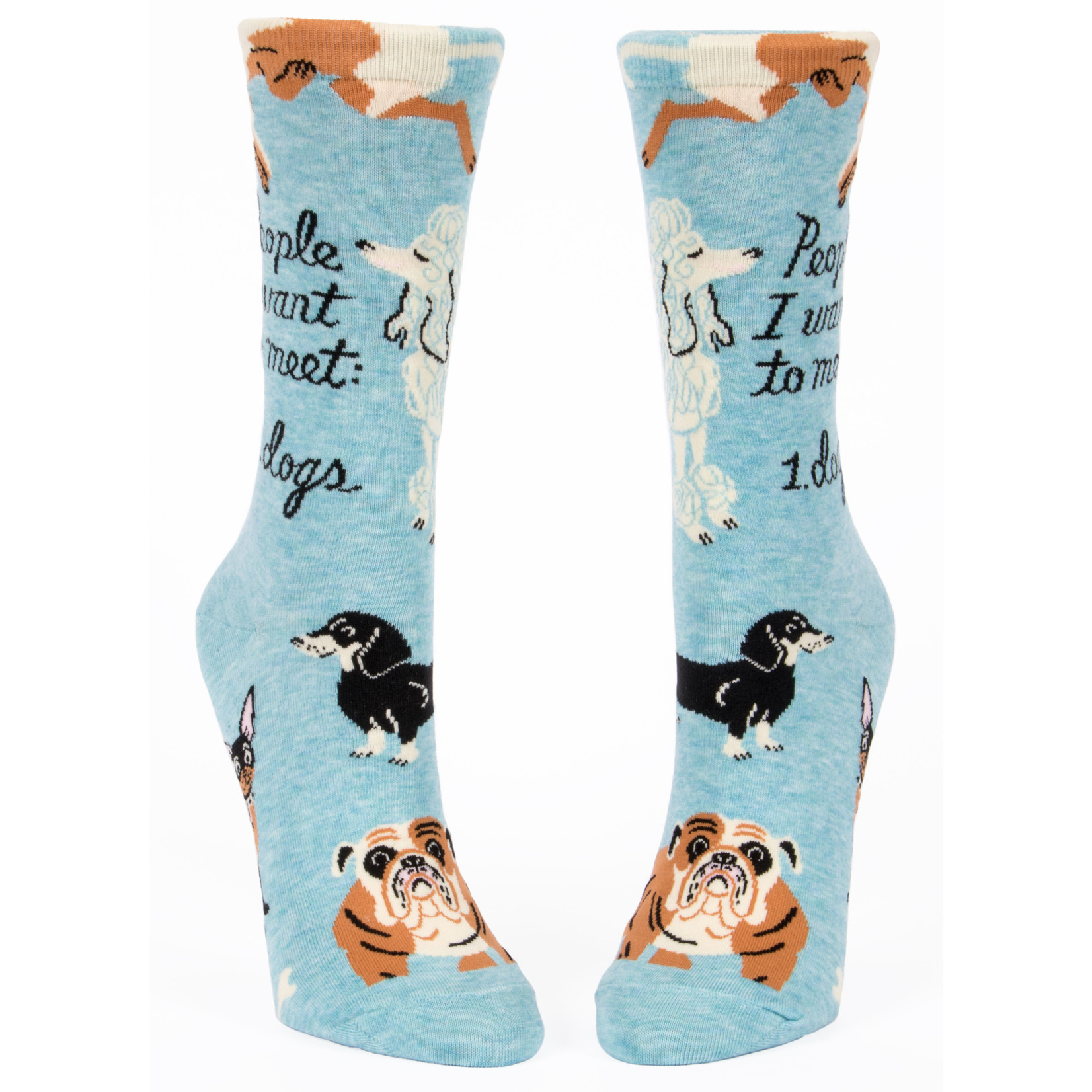 Blue Q People to Meet: Dogs W - Crew Socks