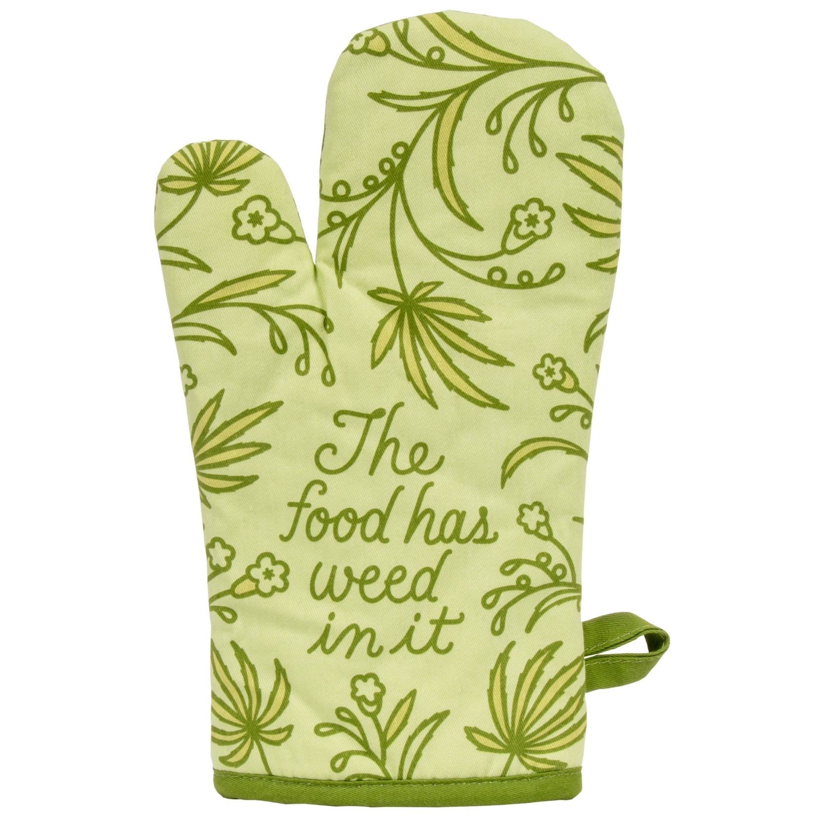 Blue Q Food Has Weed In It Oven Mitt