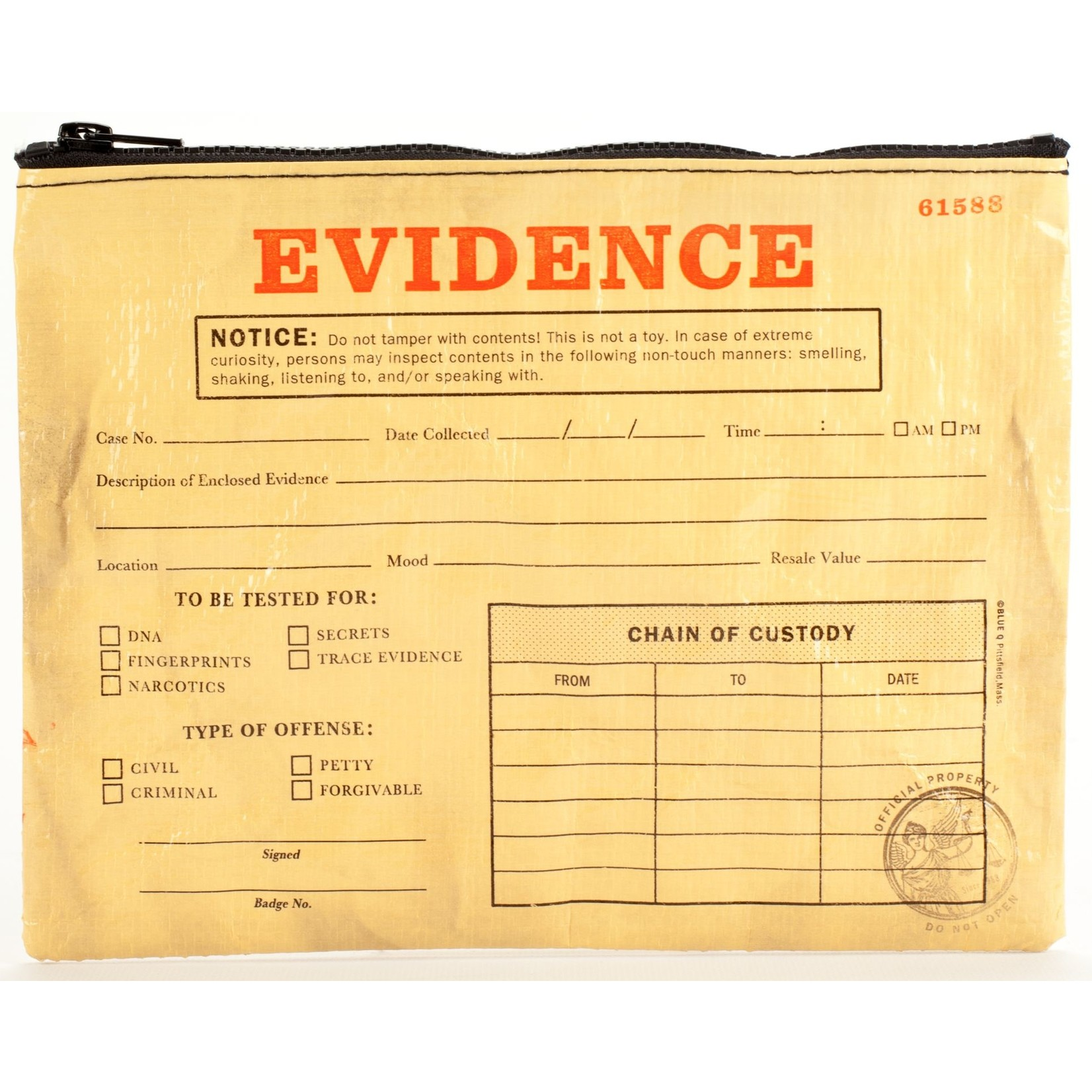 Blue Q Evidence Zipper Pouch