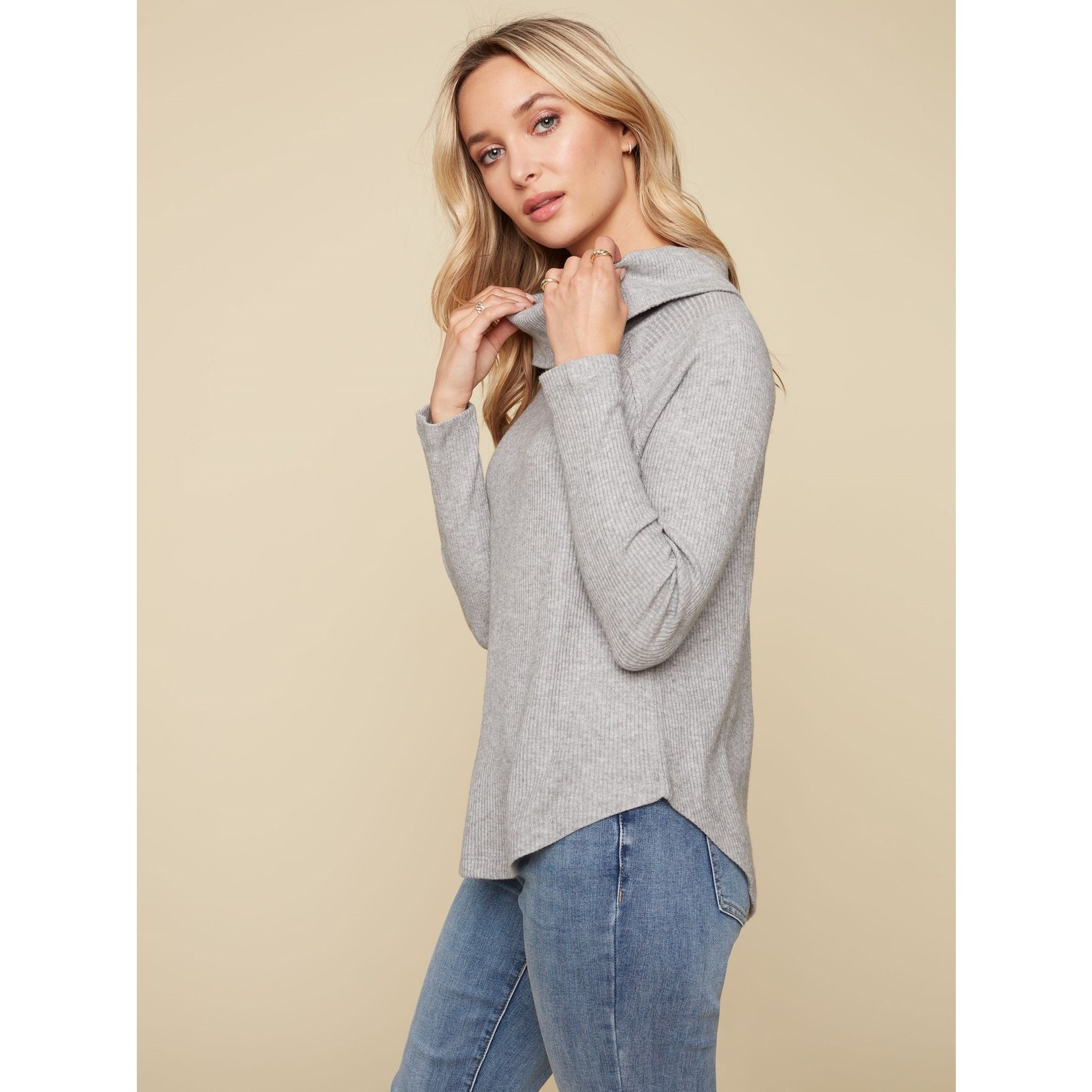 Charlie B Long Sleeve Ribbed Cowl Neck Top