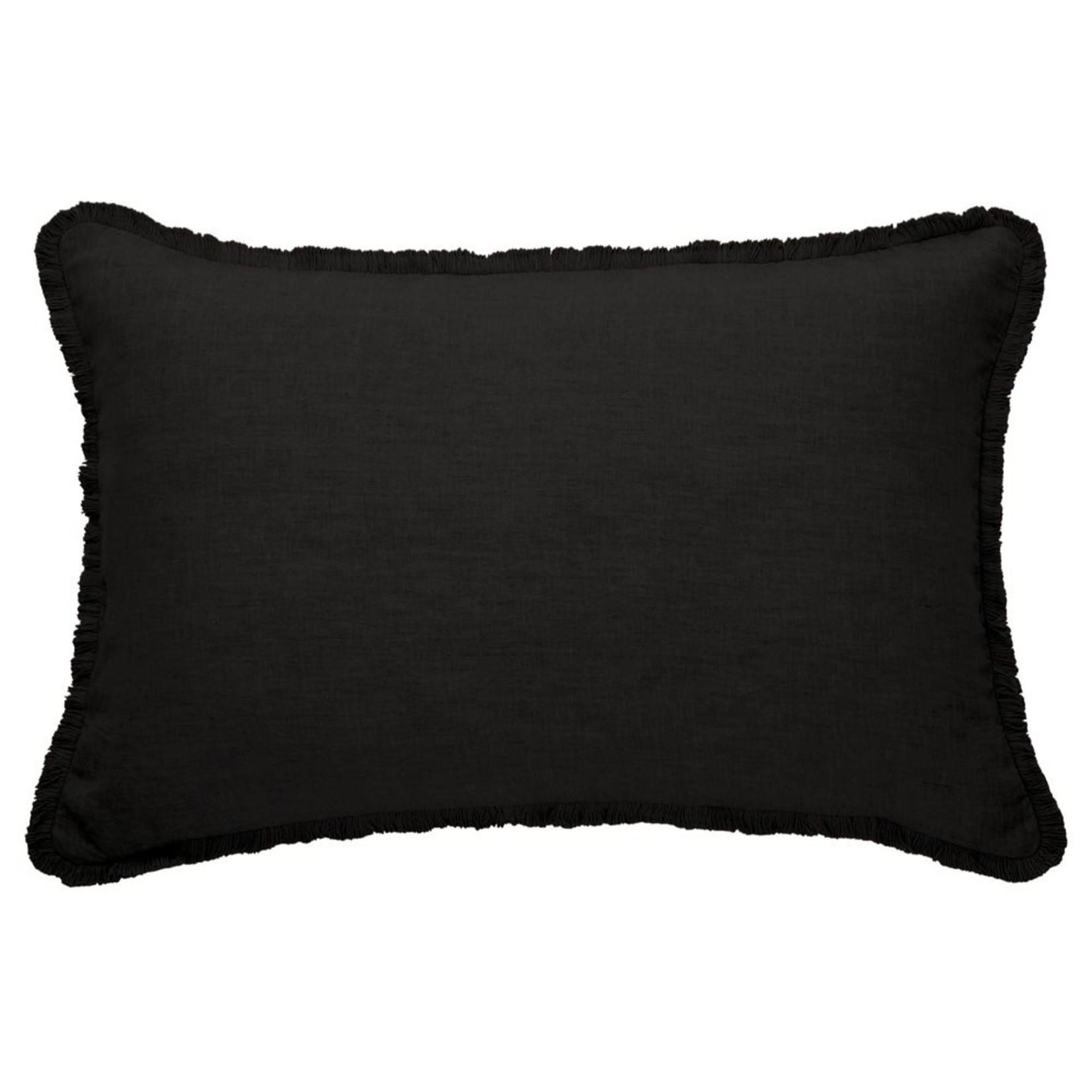 "Brunelli Linen Black Oblong Cushion 16""x24"""
