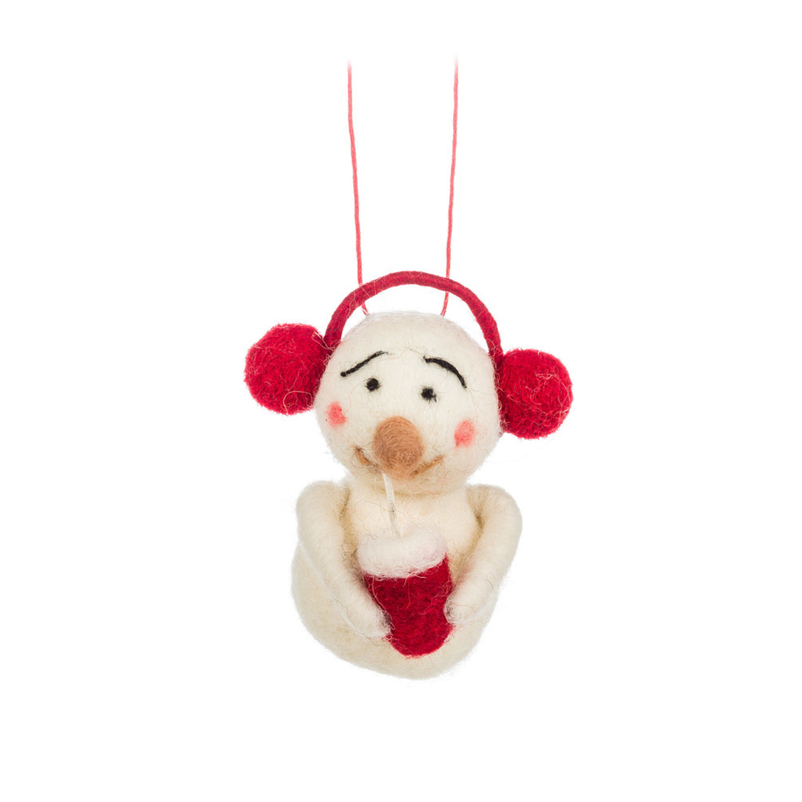 Abbott Felted Earmuff Snowman with Cup Ornament
