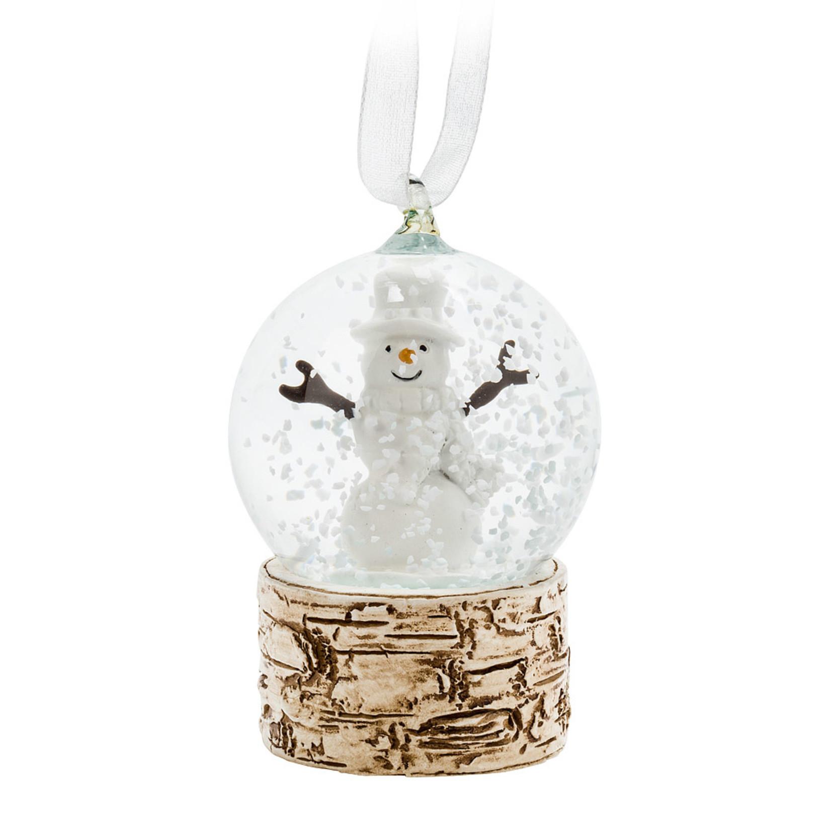 Abbott Birch Snowman Snow Globe Ornament