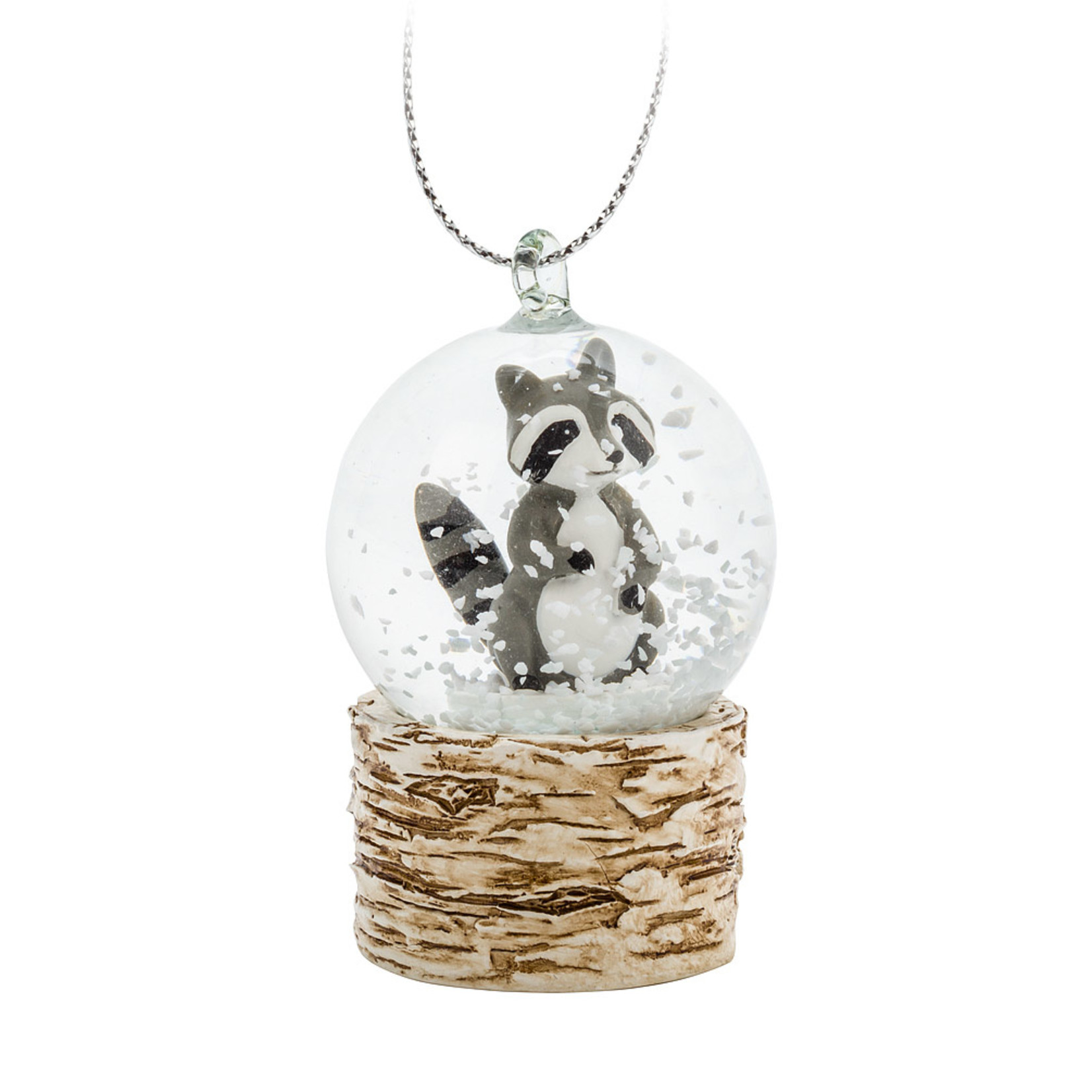 Abbott Birch Raccoon Snow Globe Ornament