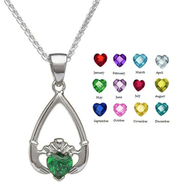 PENDANTS & NECKLACES BORU STERLING TEAR-DROP BIRTHSTONE CLADDAGH PENDANT