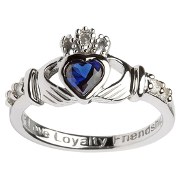 RINGS SHANORE STERLING BIRTHSTONE CLADDAGH RING - SEPTEMBER