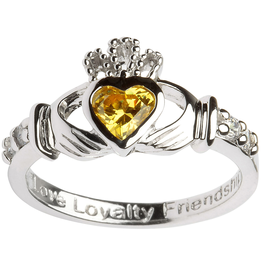 RINGS SHANORE STERLING BIRTHSTONE CLADDAGH RING - NOVEMBER