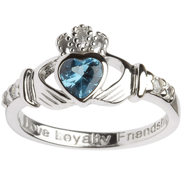 RINGS SHANORE STERLING BIRTHSTONE CLADDAGH RING - DECEMBER
