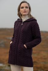SWEATERS LADIES HOODED IRISH COAT with ZIPPER & POCKETS - Damson