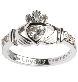 RINGS SHANORE STERLING BIRTHSTONE CLADDAGH RING - APRIL