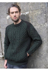 SWEATERS GENTS IRISH ARAN CREW NECK SWEATER with TWEED ACCENTS - Army Green