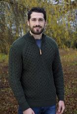 SWEATERS GENTS HALF ZIP IRISH SWEATER - Army Green
