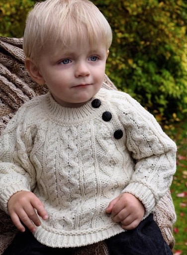 BABY CLOTHES BABY ARAN KNIT SWEATER with SHOULDER BUTTONS - Natural