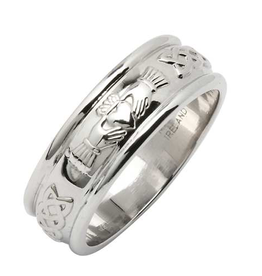RINGS FADO STERLING CORRIB CLADDAGH BAND - WIDE