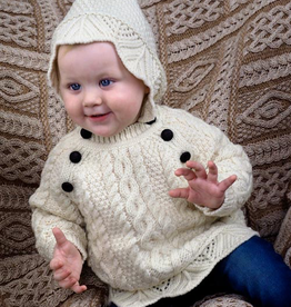 BABY CLOTHES BABY ARAN KNIT HOODIE with BUTTONS - Natural