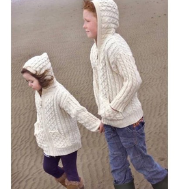 KIDS CLOTHES CHILDREN'S ARAN IRISH KNIT HOODIE SWEATER with ZIPPER - Natural