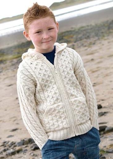 KIDS CLOTHES CHILDREN'S ARAN IRISH KNIT HOODIE SWEATER with ZIPPER - Natural