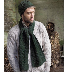ACCESSORIES IRISH KNIT MERINO WOOL SCARF - Army Green