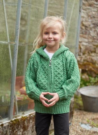 KIDS CLOTHES CHILDREN'S ARAN IRISH KNIT HOODIE SWEATER with ZIPPER - Marl Green
