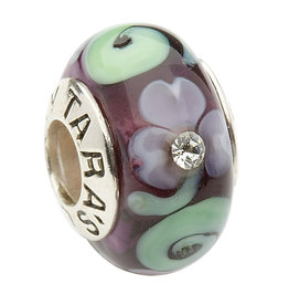 BEADS CLEARANCE - TARA'S DIARY PURPLE SHAMROCK & SPIRAL WITH CRYSTALS BEAD - FINAL SALE