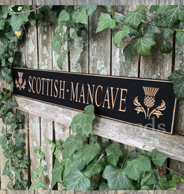 "PLAQUES, SIGNS & POSTERS ""SCOTTISH MANCAVE…"" CARVED WOOD SIGN"