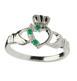 RINGS SHANORE STERLING LADIES OPEN HEART CLADDAGH RING with STONES