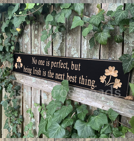 "PLAQUES, SIGNS & POSTERS ""NO ONE IS PERFECT…"" CARVED WOOD SIGN"