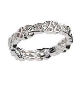 RINGS SHANORE STERLING CELTIC BAND with DIAMONDS