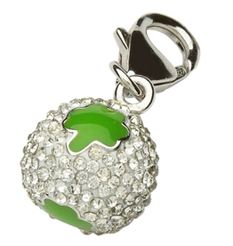 CHARMS CLEARANCE - TARA'S DIARY STERLING CRYSTAL SHAMROCK CHARM - FINAL SALE